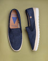 Blade Woven Leather Loafers - Navy