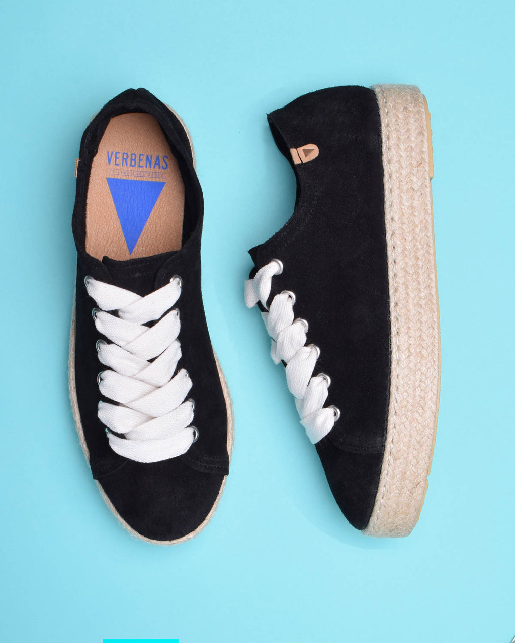 Brigit Suede Jute Wrapped Platform Sneakers - Black