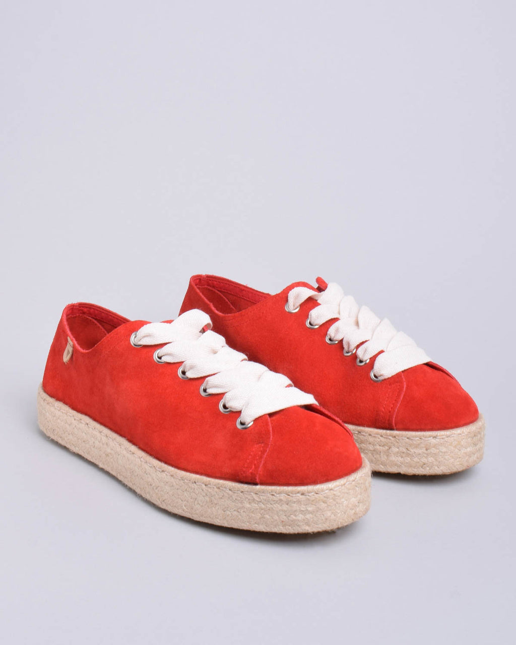 Brigit Suede Jute Wrapped Platform Sneakers - Red - Verbenas USA