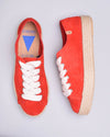 Brigit Suede Jute Wrapped Platform Sneakers - Red