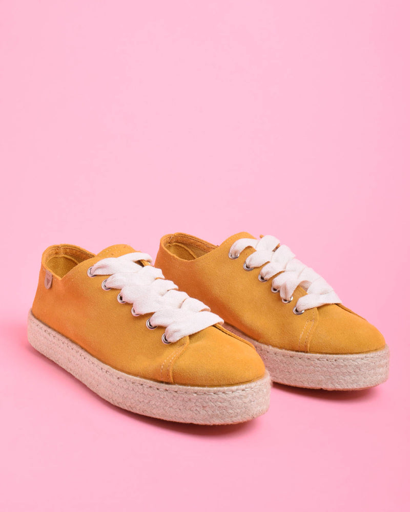 Brigit Suede Jute Wrapped Platform Sneakers - Yellow - Verbenas USA