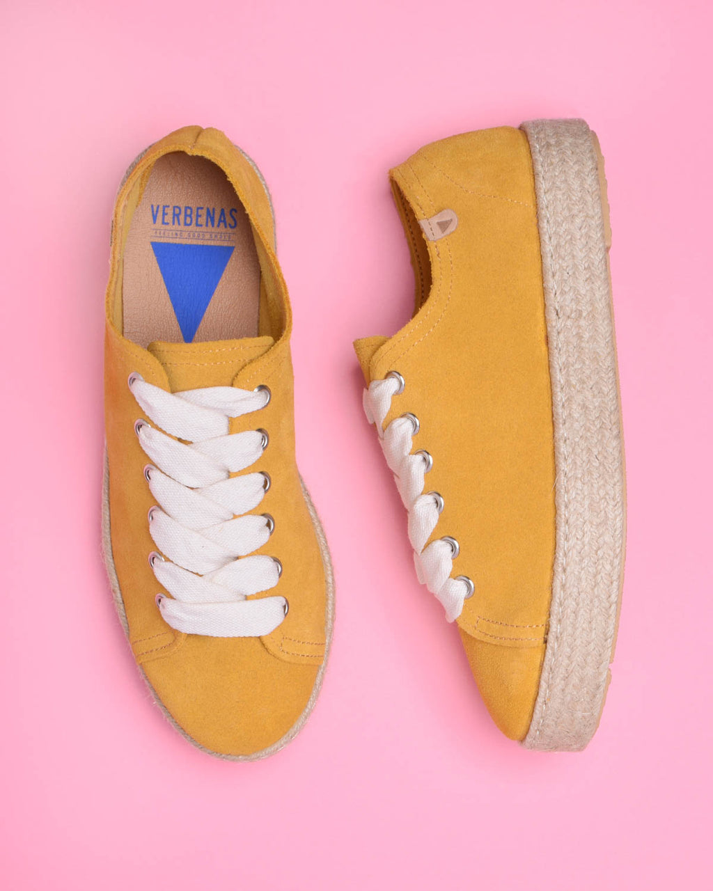 Brigit Suede Jute Wrapped Platform Sneakers - Yellow
