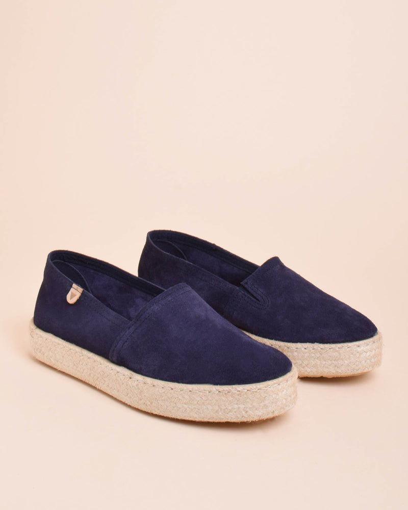 Bruna Suede Jute Wrapped Platform Loafers - Navy - Verbenas USA