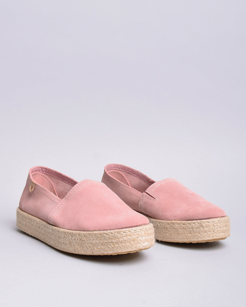 Bruna Suede Jute Wrapped Platform Loafers  - Pink - Verbenas USA