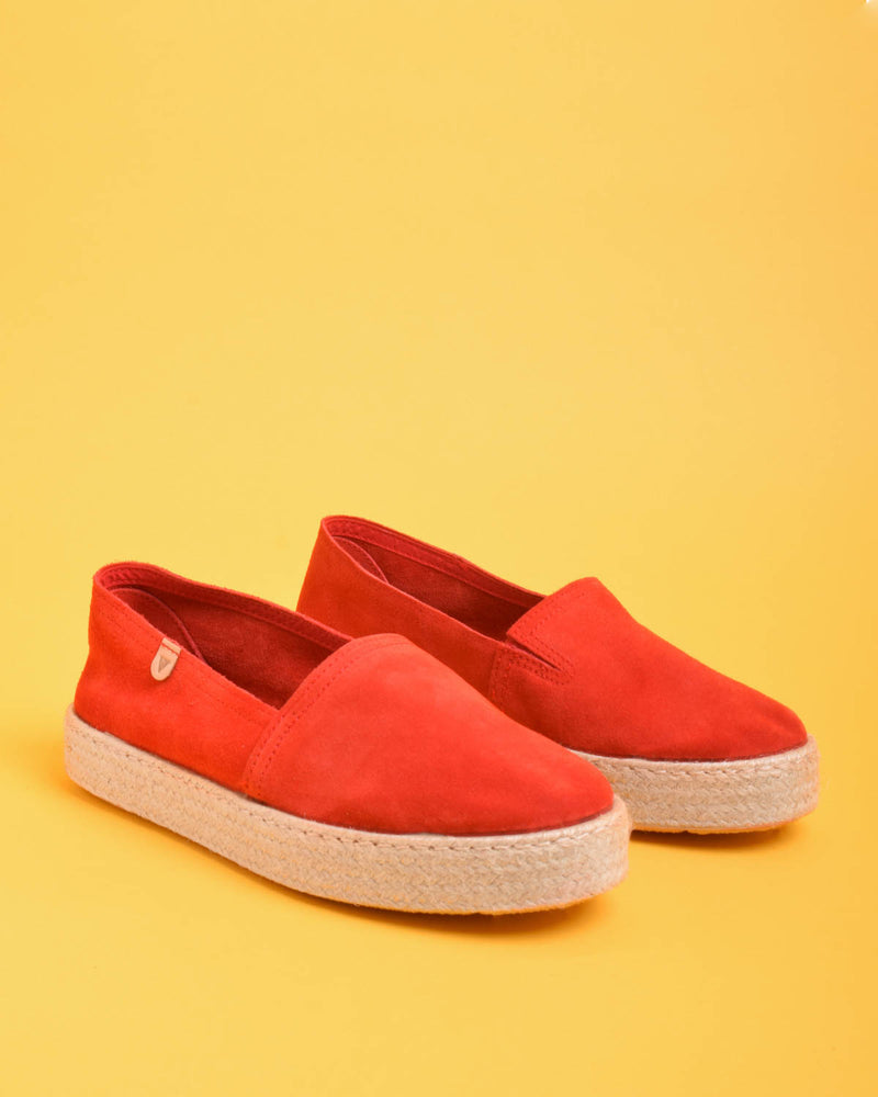 Bruna Suede Jute Wrapped Platform Loafers - Red - Verbenas USA