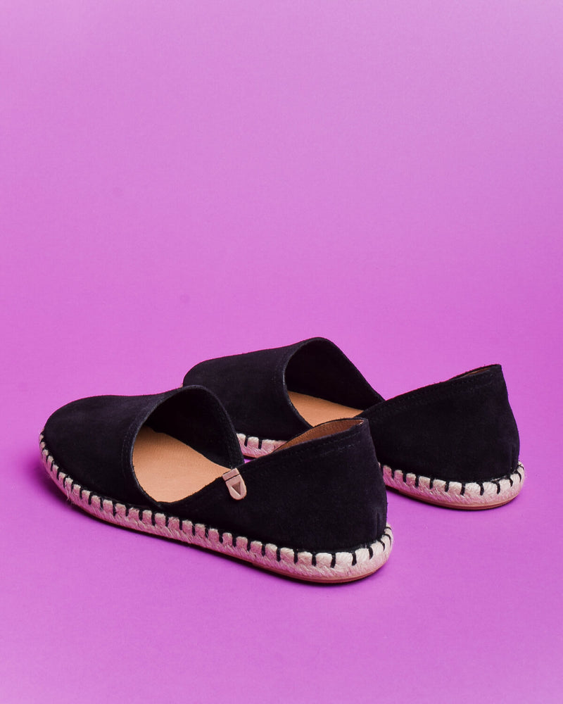 Carmen Suede Slip On Espadrille - Black - Verbenas USA