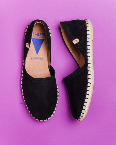 Carmen Woven Leather Slip On Espadrille - Black