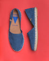 Carmen Woven Leather Slip On Espadrille - Navy