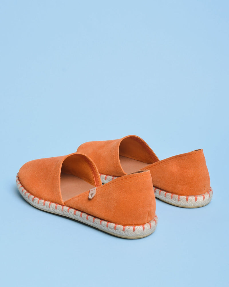 Carmen Suede Slip On Espadrille - Orange - Verbenas USA