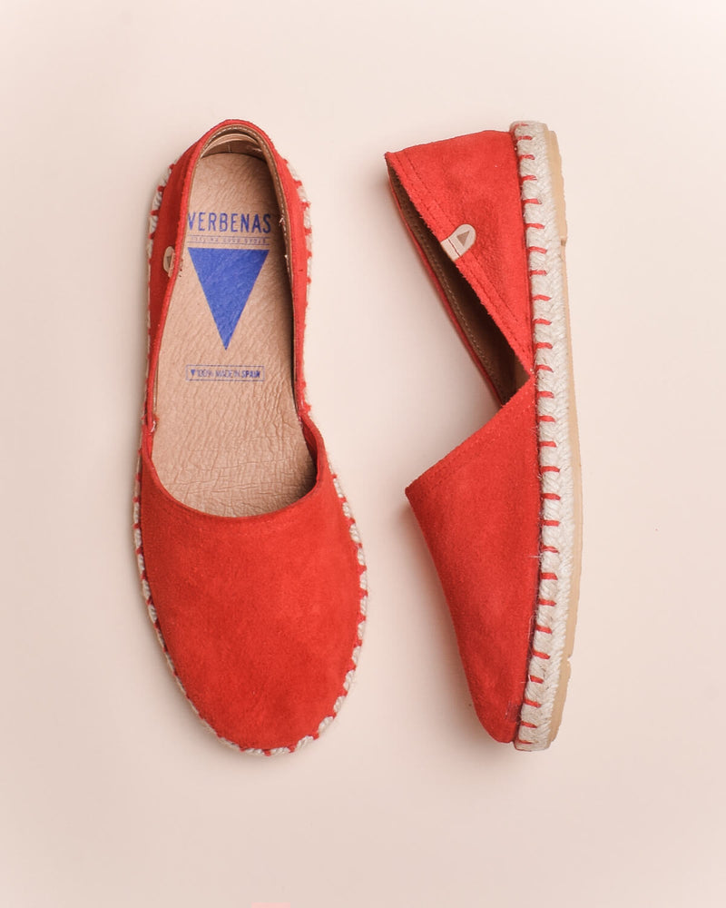 Carmen Suede Slip On Espadrille - Red - Verbenas USA