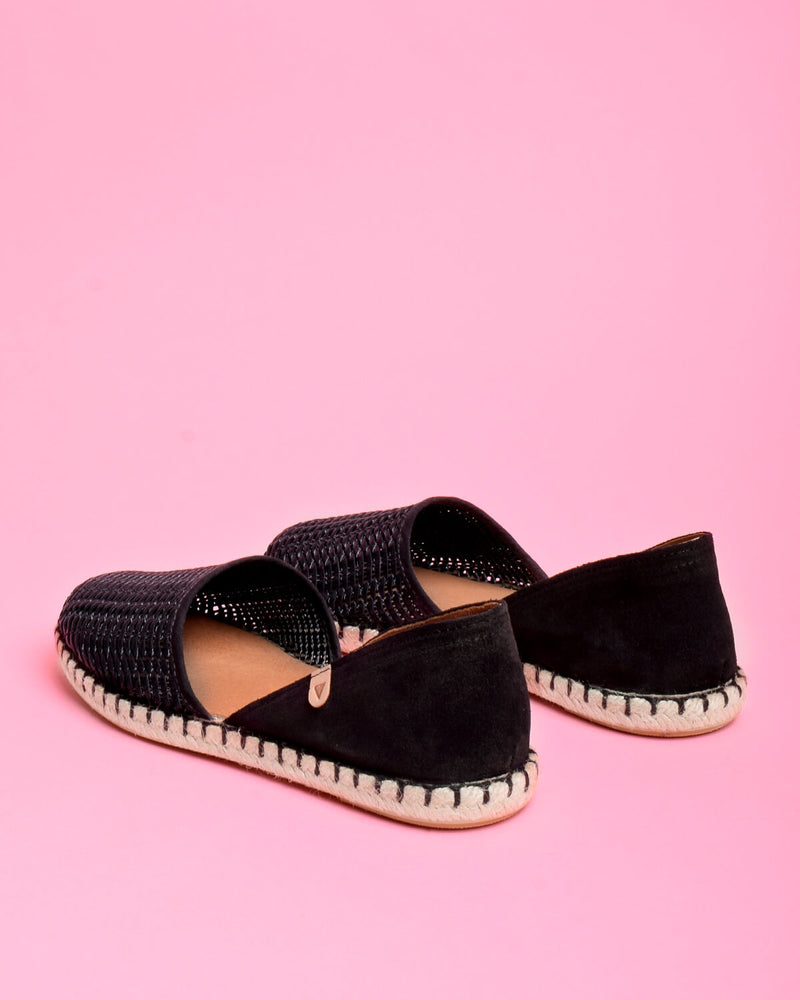 Carmen Woven Leather Slip On Espadrille - Black - Verbenas USA