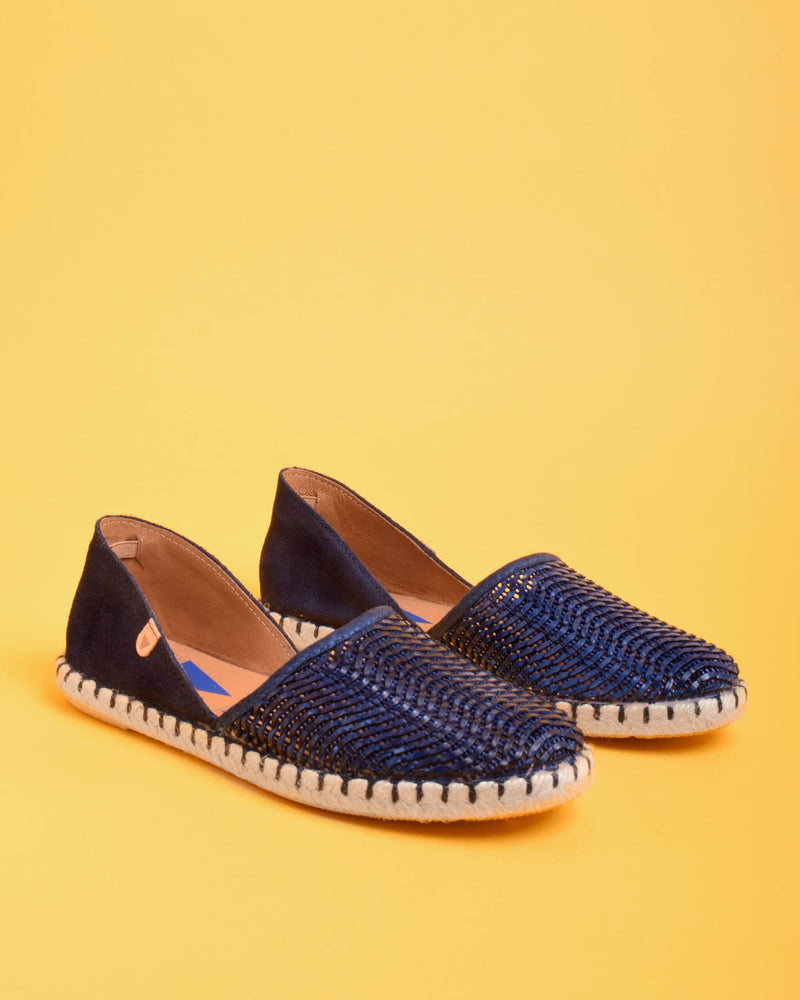 Carmen Woven Leather Slip On Espadrille - Navy - Verbenas USA