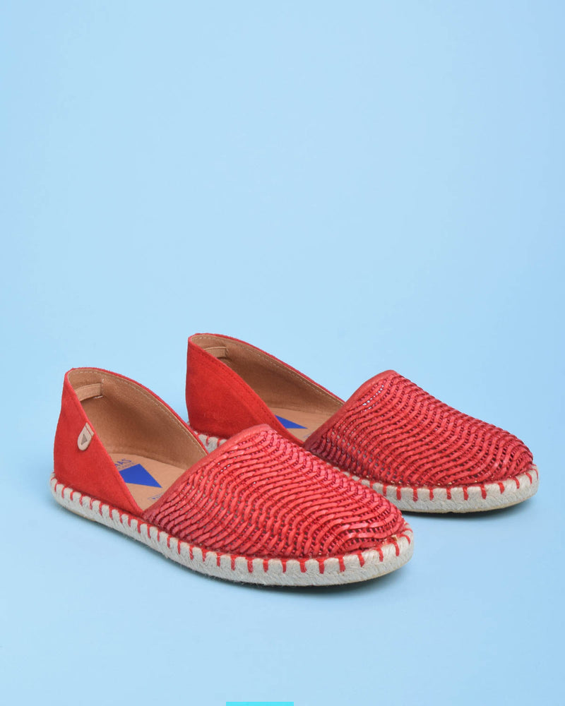 Carmen Woven Leather Slip On Espadrille - Red - Verbenas USA