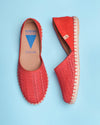 Carmen Suede Slip On Espadrille - Red