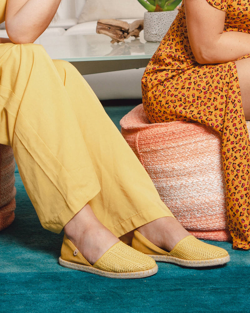 Carmen Woven Leather Slip On Espadrille - Yellow - Verbenas USA