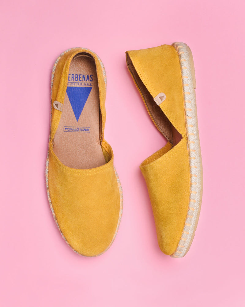 Carmen Suede Slip On Espadrille - Yellow - Verbenas USA