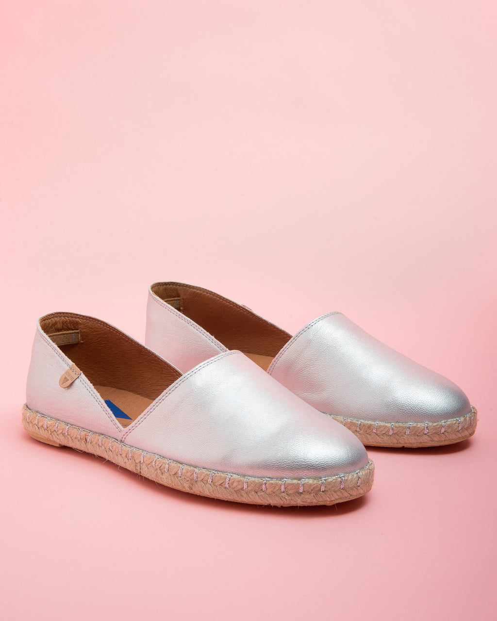 Carmen Metallic Leather Slip On - Silver