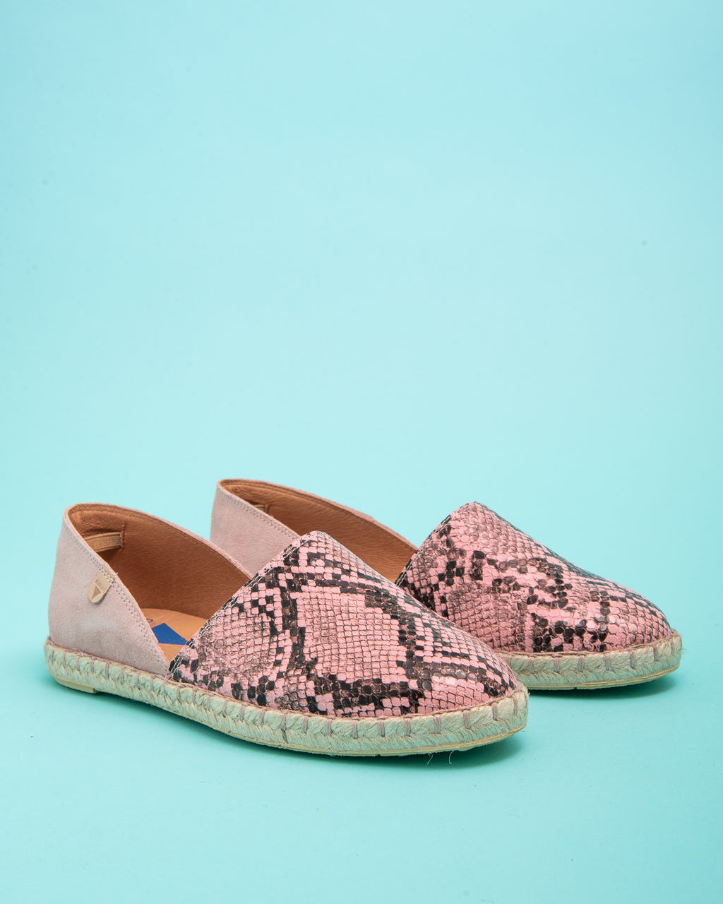 Carmen Snake Print Leather Slip On Espadrille - Pink