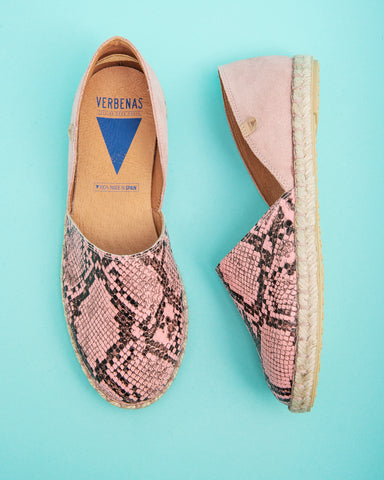 Carmen Snake Print Leather Slip On Espadrille - Taupe