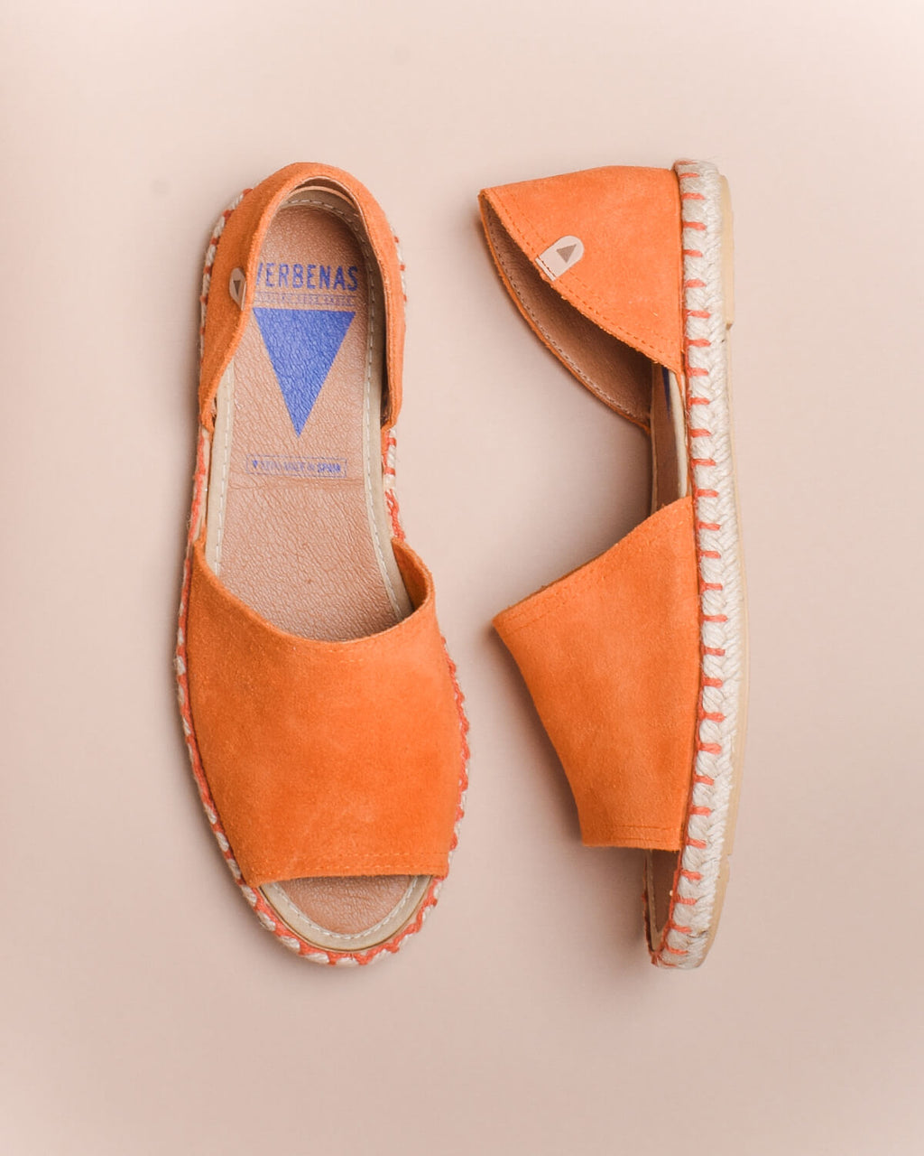 Carol Suede Open Toe d'Orsay Espadrilles - Orange - Verbenas USA