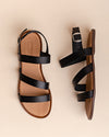 Isabela Cross Strap Leather Sandal - Black