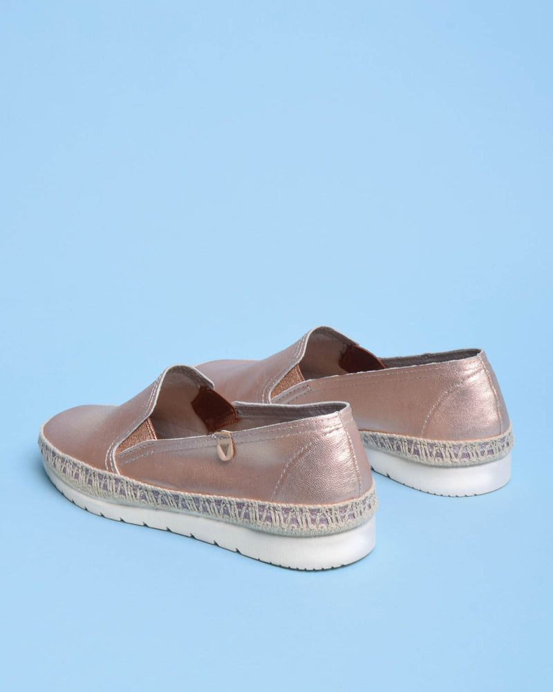 Nuria Metallic Leather Jute Wrapped Loafers - Rose Gold - Verbenas USA