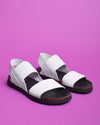 Talia Leather and Elastic Strapped Sandals - White - Verbenas USA