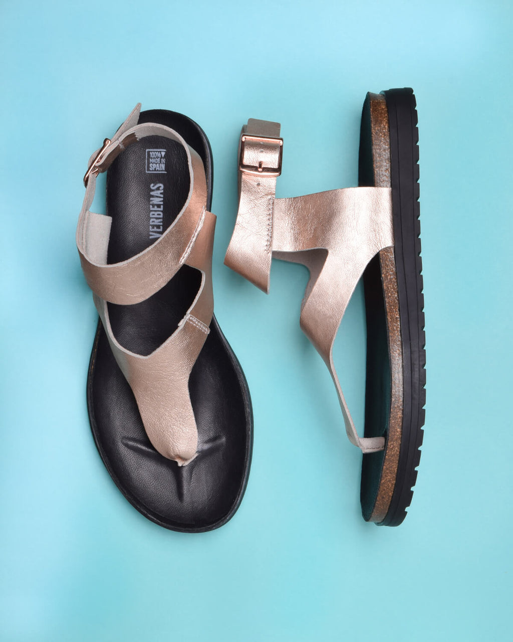 Tesa Metallic Leather Thong Gladiator Sandals - RoseGold