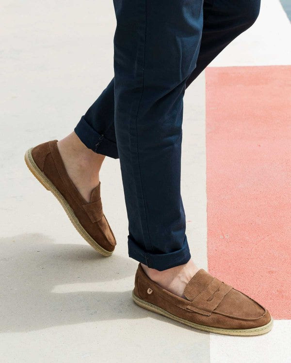 Tirson Suede Penny Loafers - Khaki