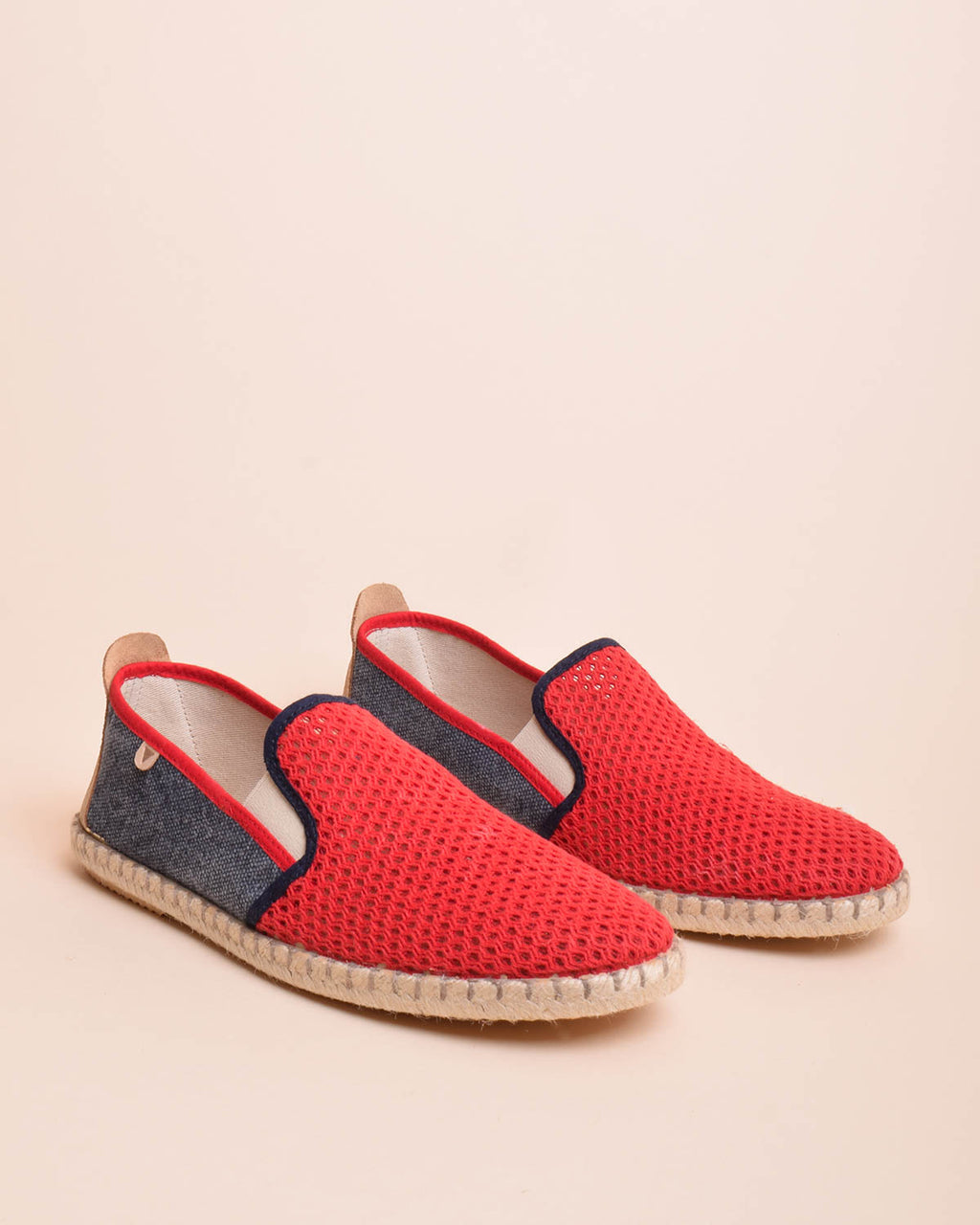 Tito Canvas and Cotton Mesh Jute Wrapped Slip On Shoes - Red / Navy