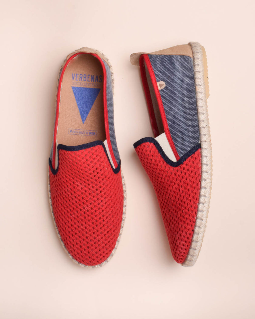 Tito Canvas and Cotton Mesh Jute Wrapped Slip On Shoes - Red / Navy - Verbenas USA