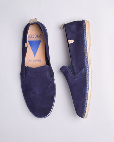 Boris Perforated Suede Jute Wrapped Loafers - Navy