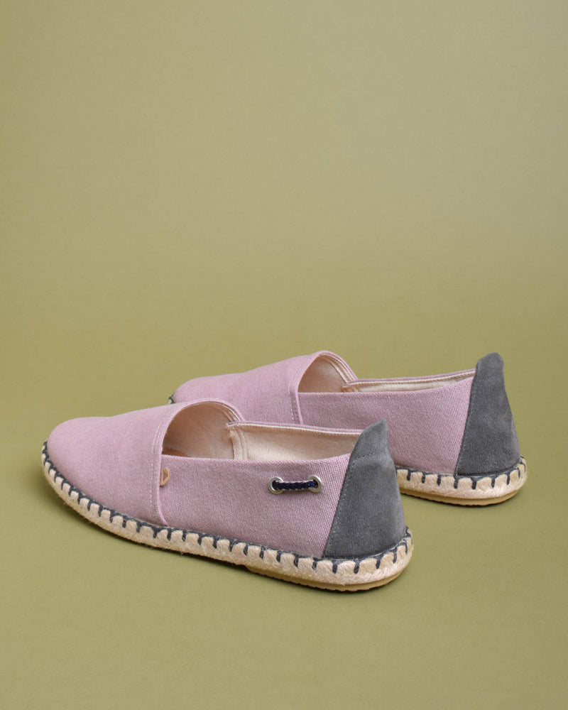 Travis Washed Canvas Jute Wrapped Slip On Shoes - Pink - Verbenas USA