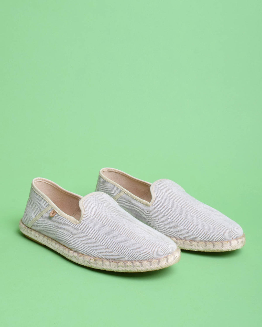 Trevor Chevron Canvas Slip On Shoes - Beige
