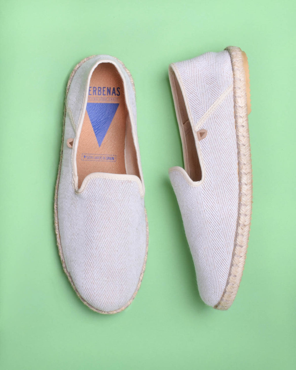 Trevor Chevron Canvas Slip On Shoes - Beige - Verbenas USA
