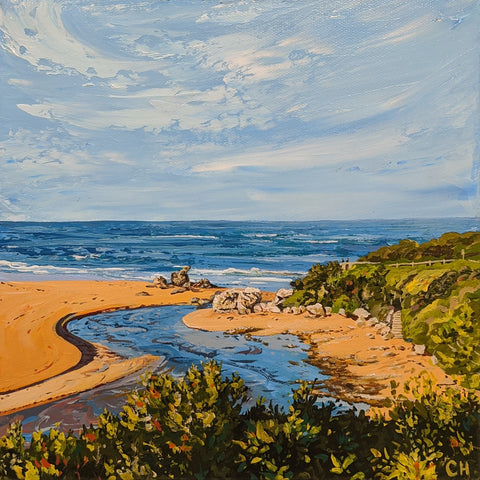 Bluehole for Kerry Hancock Commissioned Painting Hopkins River Mouth by Caroline Healey