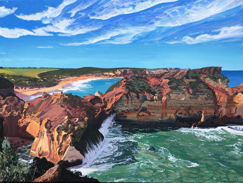 Unique commissioned painting of landscape seascape near Childers Cove Victoria Australia Coastal Art by Caroline Healey