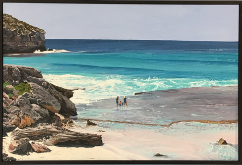 Unique Commissioned painting of family on beach Kangaroo Island turquoise sea coastal art by Caroline Healey