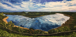 Commissioned painting of Tower Hill crater lake acrylic canvas panoramic pano reflections water