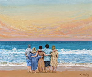Commissioned painting of family on beach at sunset arm in arm acrylic on canvas by Caroline Healey