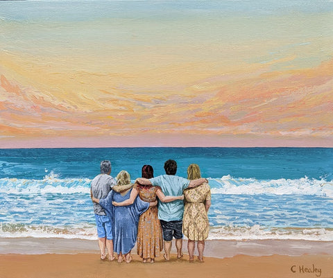 Plumb family portrait Warrnambool looking out to see commissioned painting by Caroline Healey