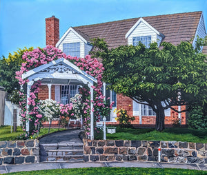 Commissioned painting of house cottage with roses steps and a brick front by Caroline Healey painted in acrylic on canvas