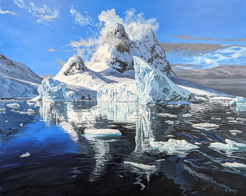 Iceberg commissioned painting by Caroline Healey Acrylic on canvas Antarctica sm