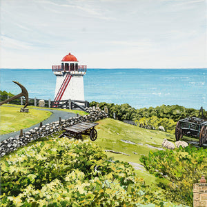 Lady Bay Lower Lighthouse, Flagstaff Hill, Warrnambool Victoria acrylic coastal painting by Caroline Healey