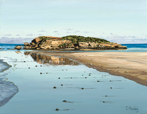 Merri Island Reflections, Stingray Bay Warrnambool, Victoria acrylic coastal painting by Caroline Healey