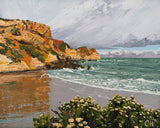 Murnanes Bay stormy sea seascape landscape beach reflections green sea cliffs coastal impressionist painting acrylic art fine art print