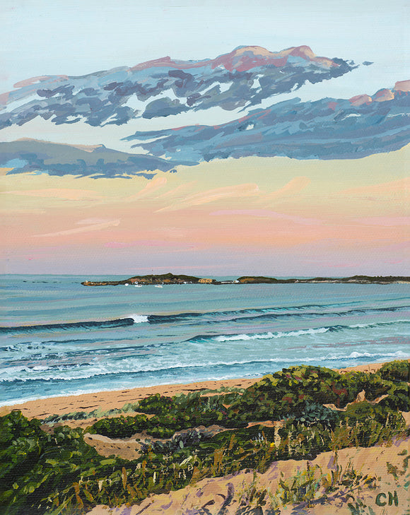 Peeling Wave Lady Bay Warrnambool sea seascape landscape sunrise sunset beach  sea coastal surf impressionist painting acrylic art fine art print