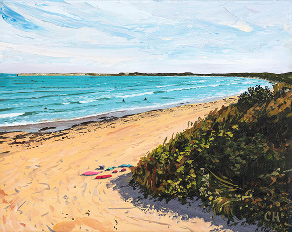Surfside Lady Bay Warrnambool Summer sea seascape landscape beach reflections turquoise aqua coastal impressionist painting acrylic art fine art print
