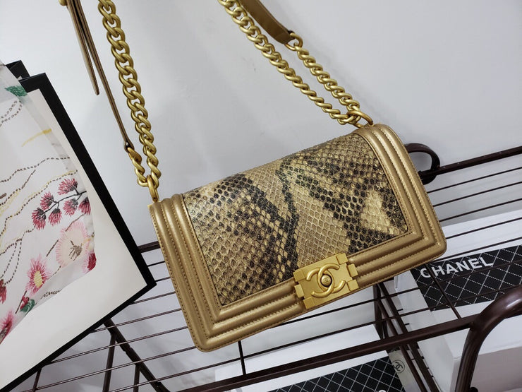 Metallic Python Boy Bag