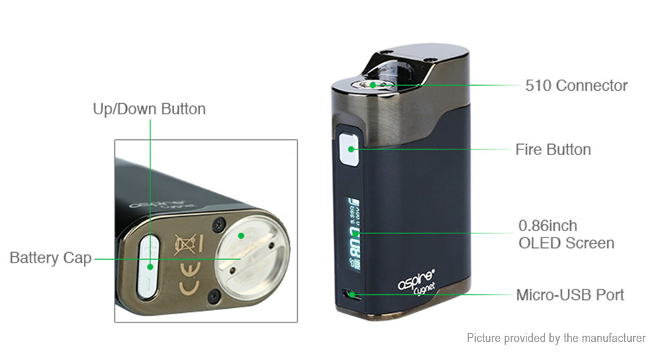 Aspire Cygnet BOX MOD 80W Single 18650 - Black